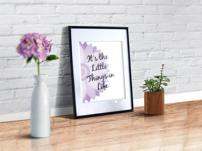purple floral geo print mock up